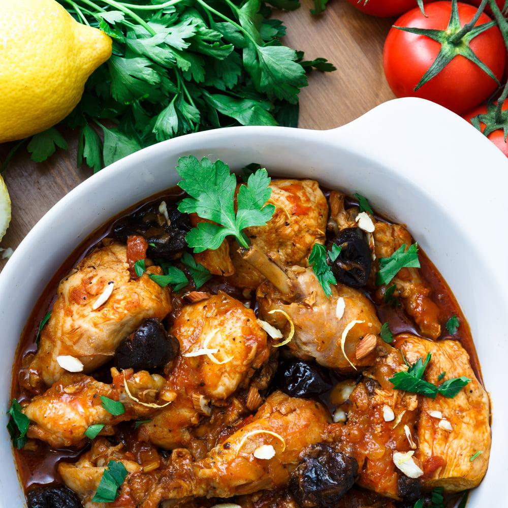طاجن الدجاج بالقراصيا المغربي منال